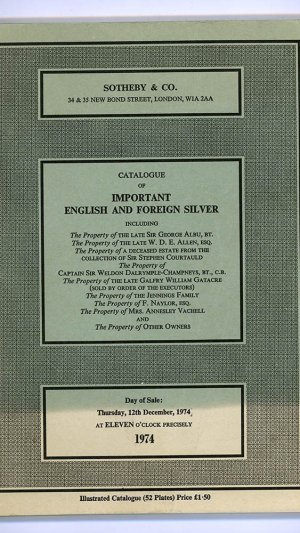 Catalogue of Important English and Foreign Silver