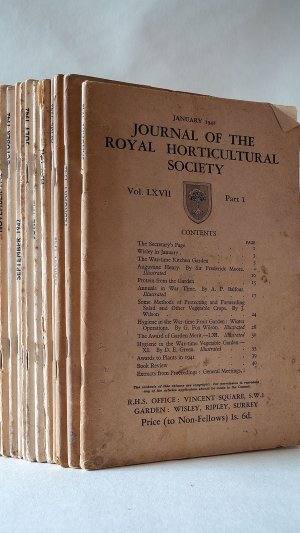 Journal of the Royal Horticultural Society Vol. LXVII Part One to Twelve January-December 1942