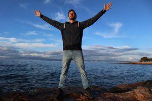 me on Egina island on a sunny winter day