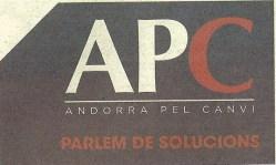 Eslògan emprat per ApC sobre fons blau.