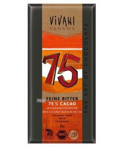 Chocolate negro 75% ecológico Vivani 80grs.