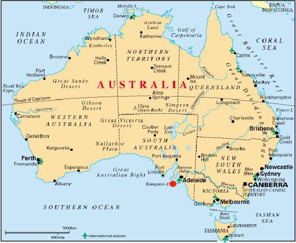 Mapa Australia,