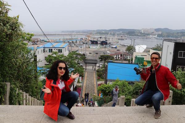 Vistas escalera entrada parque Guryongpo