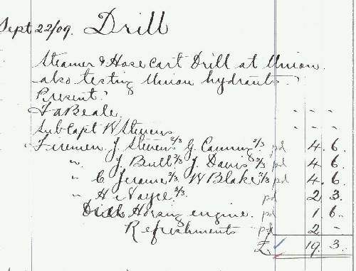 Drill and Hydrant Testing 22nd September 1909