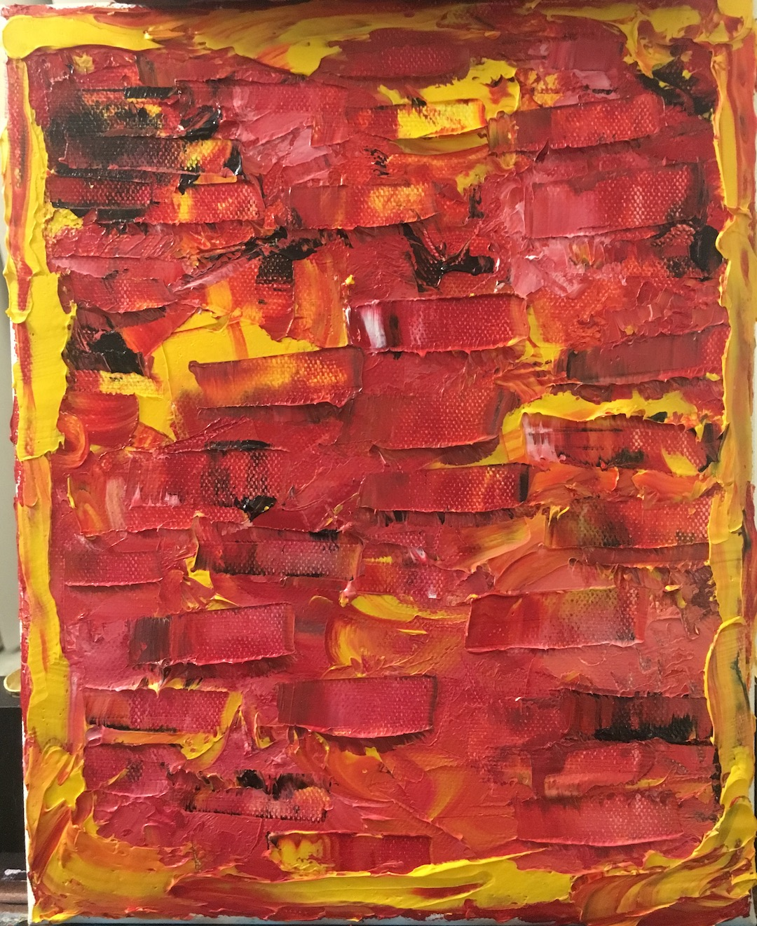 oil painting abstract red and yellow