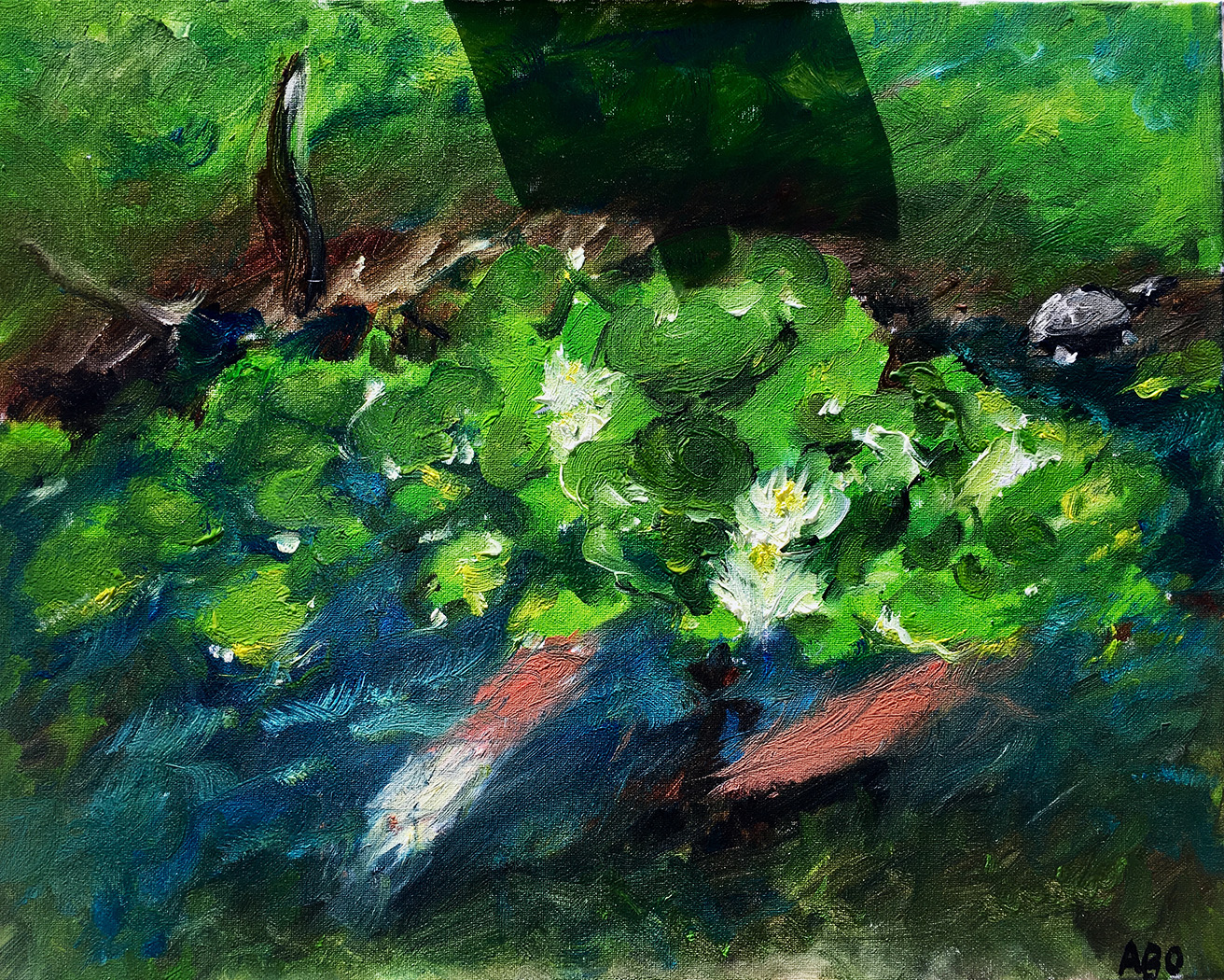 oil painting koi pond
