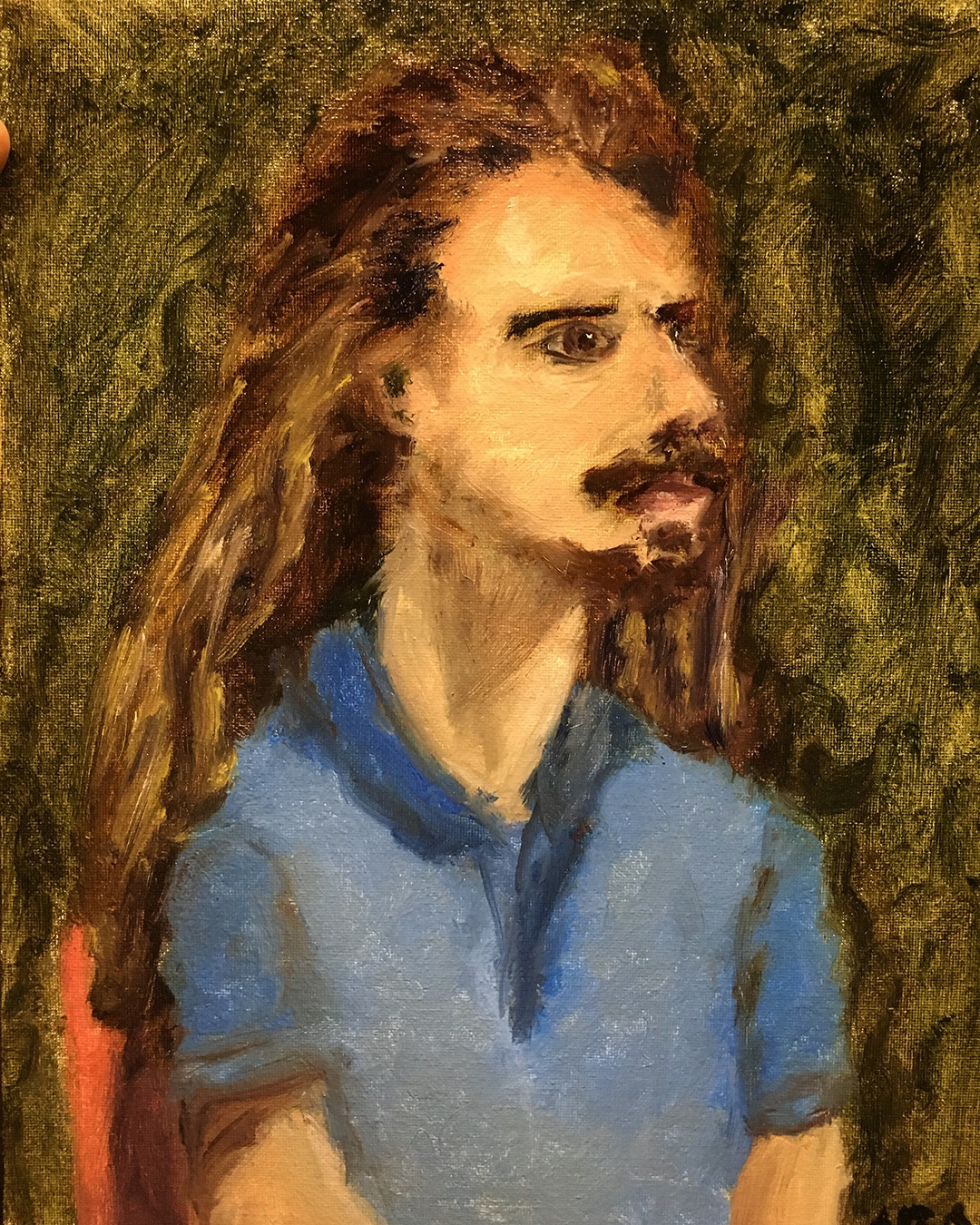 oil painting man long hair hippy