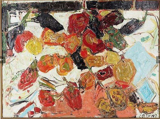 """COTTAVOZ, """"Poivrons et aubergines"""" 1957, en vente chez SADDE Dijon."""