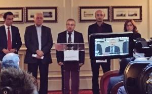 Von links nach rechts: Dilshad Milla, Fuad Aliko (KNR-Repräsentant in der Verhandlungsdelegation), Dr. Abdulhakim Bachar (KNR-Mitglied im HNC), Alan Hassaf, Narin Bajjo.