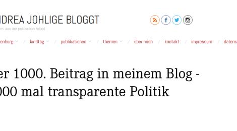 Der 1000. Beitrag hier im Blog - 1000 mal transparente Politik