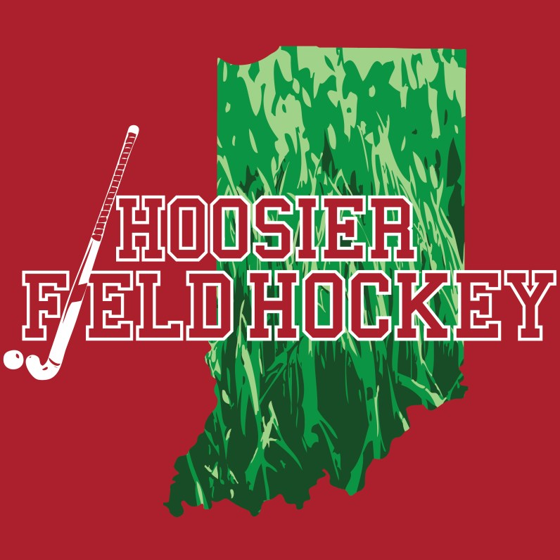 Hoosier Field hockey logo on red background