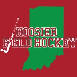 Hoosier Field Hockey logo on red