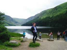 Alexia and one of the lakes in Glendalough.