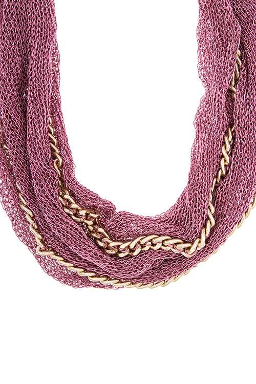 mesh multiple chain fabric necklace