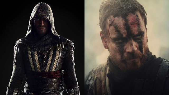 Michael Fassbender as Macbeth with warpaint and armor.