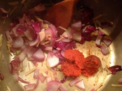 Adding curry paste