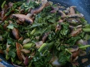 Quick pan sautéed vegetables in pesto