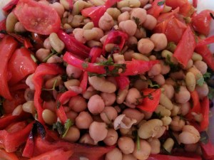 Roasted Red Pepper, Cherry tomato and Chickpea with Flageolet bean Salad