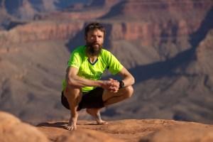 Rob Krar trail running on the South Kaibab Trail. Grand Canyon National Park, USA