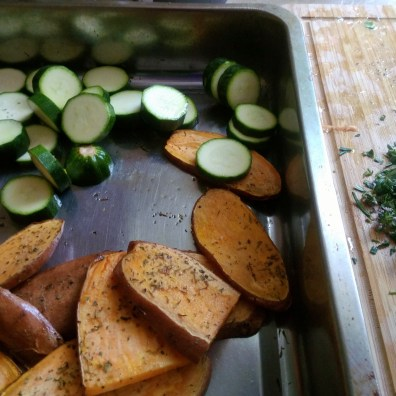 Adding courgettes and herbs