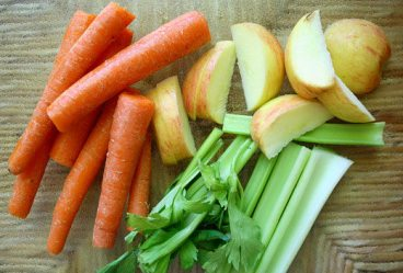Carrots, celery, apple