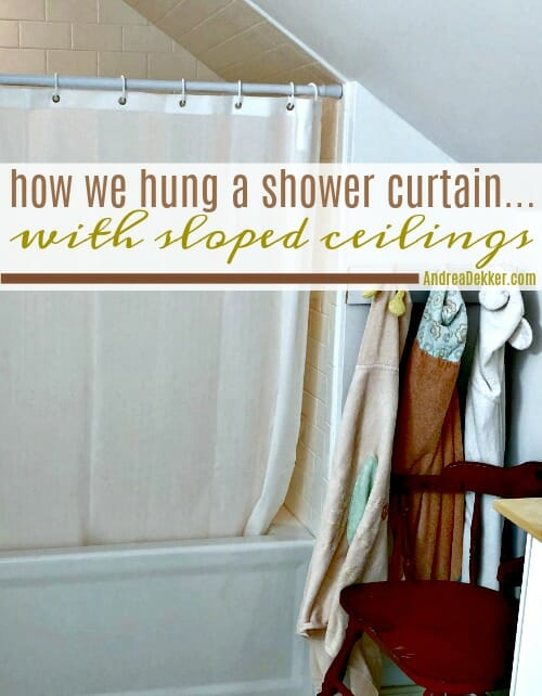 a shower curtain with sloped ceilings