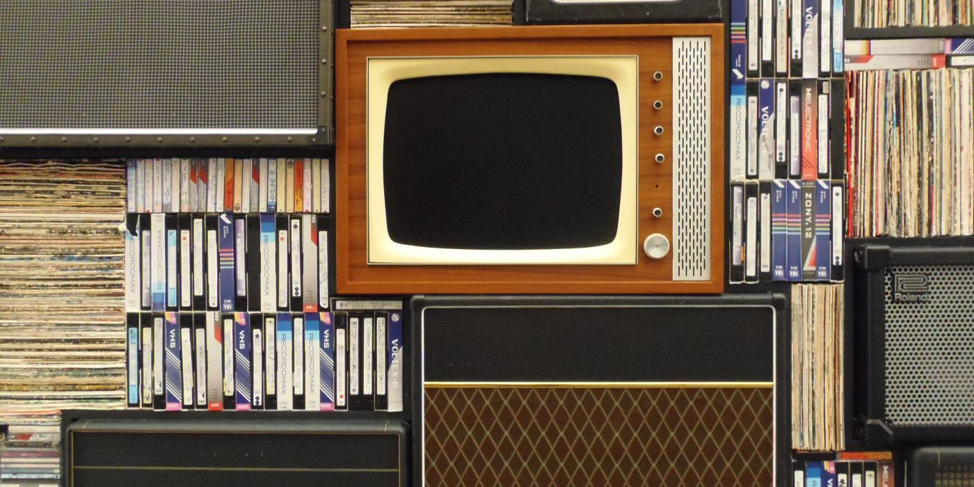 TV, music amps, VHS tapes, and vinyl records