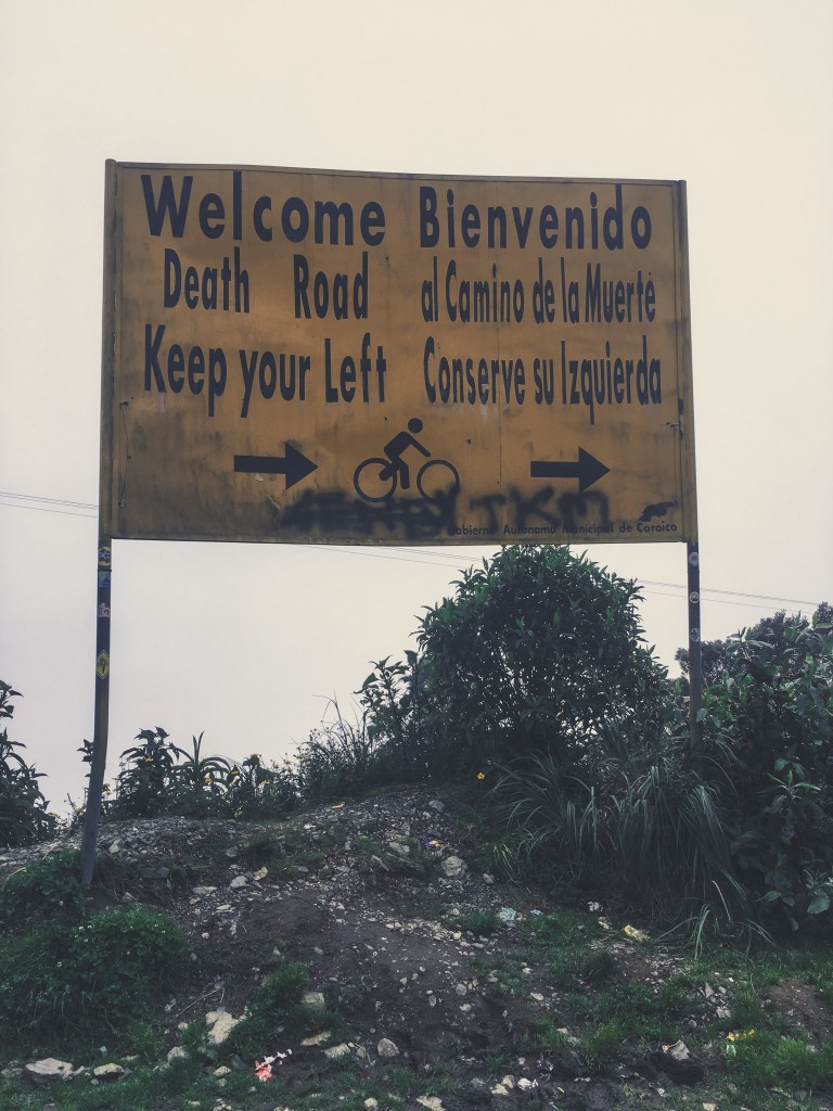 biking worlds most dangerous road bolivia sign