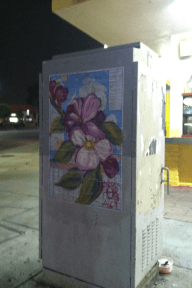Street art in los angeles, random act, andrea lahue, la hue, map earthday,earth day, flower