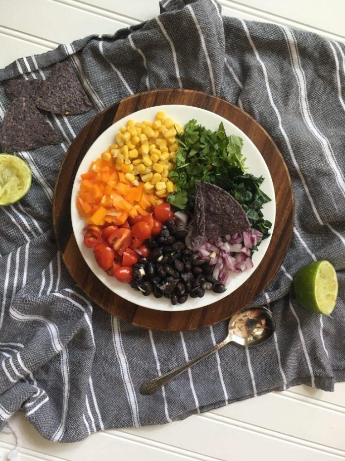 vegan rainbow black bean dip