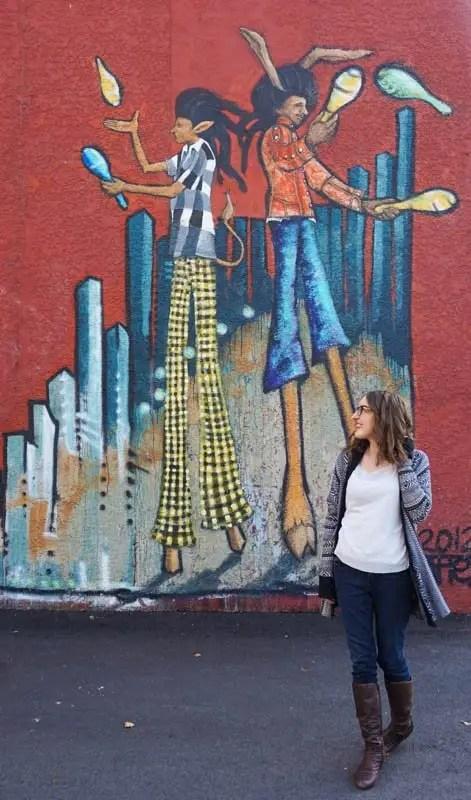 Stilt jugglers mural in Penticton, B.C.