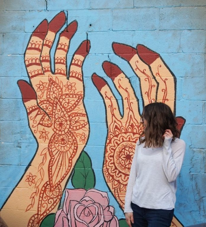 Mural of hands in Penticton, British Columbia