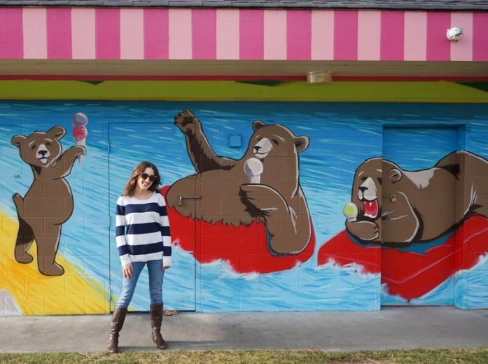 Mural of the Tickleberry's bears at Skaha Beach in Penticton