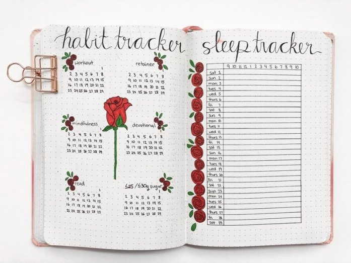 Bullet journal habit tracker and sleep tracker spread