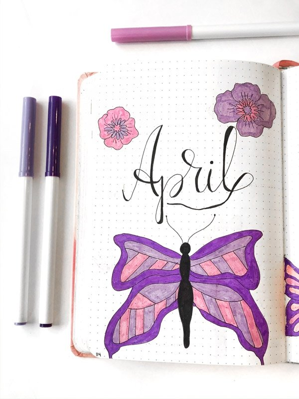 April bullet journal cover page