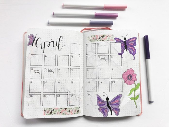 April bullet journal monthly calendar