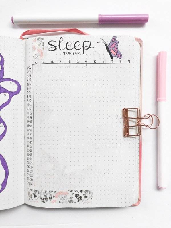 Bullet journal monthly sleep tracker