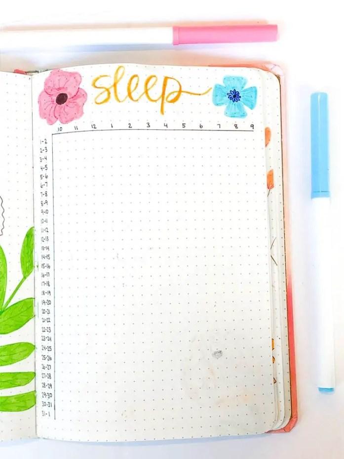 Bullet journal monthly sleep tracker