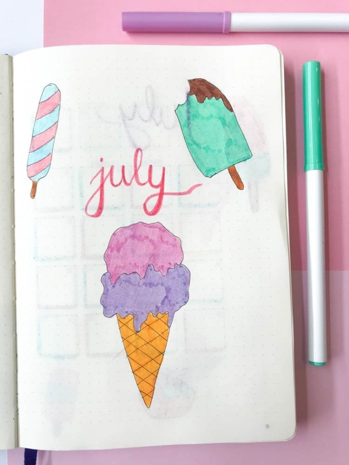 Bullet journal ice cream theme July cover page
