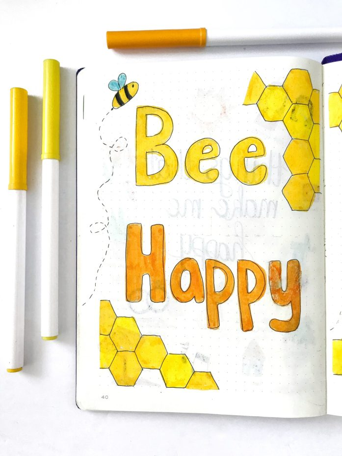 Bullet journal quote page bee happy