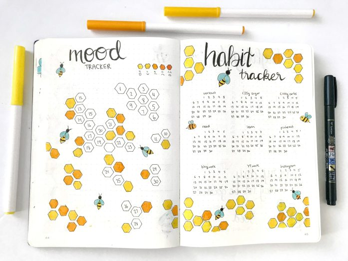 Bullet journal monthly mood tracker and habit tracker