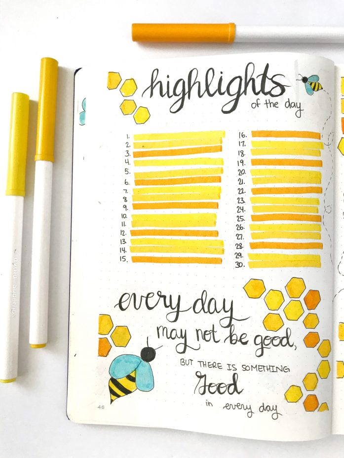 bullet journal monthly highlights of the day page