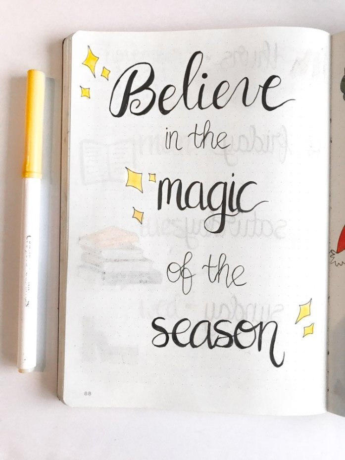 bullet journal quote page: believe in the magic of the season