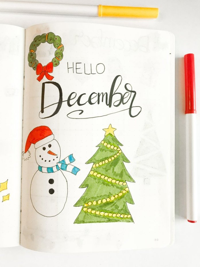 december bullet journal cover page: hello december