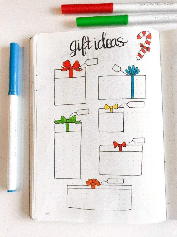 christmas gift ideas bullet journal page
