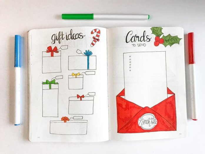 bullet journal spread: gift ideas and cards to send