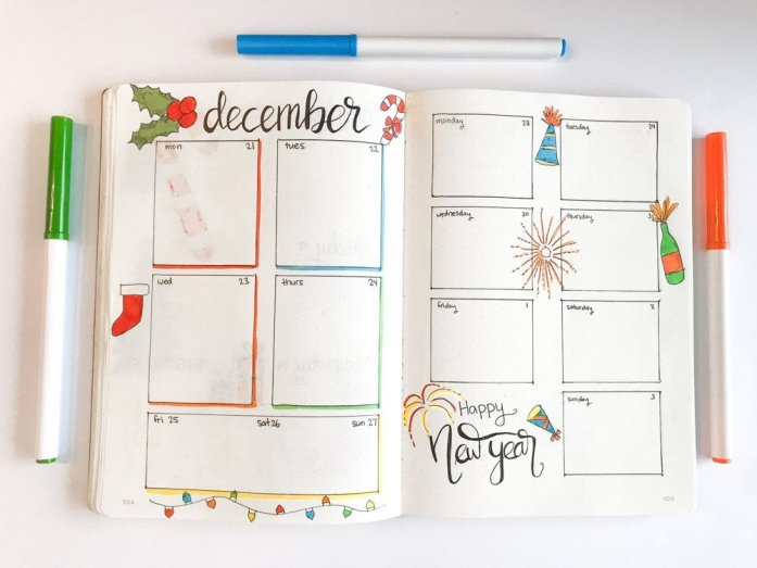 december bullet journal weekly layout