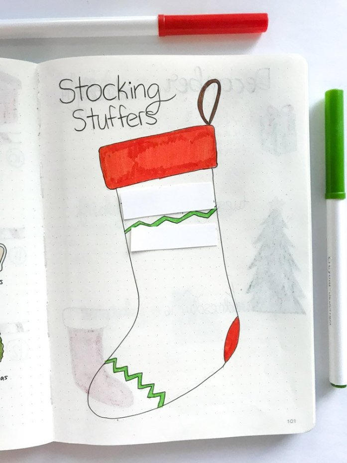 Stocking stuffer ideas bullet journal page