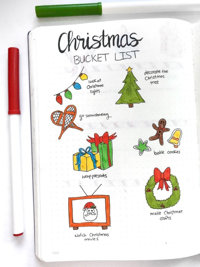 Christmas bucket list bullet journal page