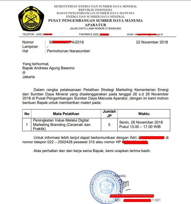 Surat Undangan Resmi Kementerian Esdm Andreas Agung
